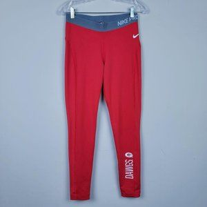Nike Pro Dry Fit Go Dawgs Red White Leggings L